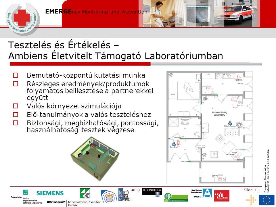 EMERGE ncy Monitoring and Prevention Slide 11 Tesztelés és Értékelés – Ambiens Életvitelt Támogató Laboratóriumban  Bemutató-központú kutatási munka