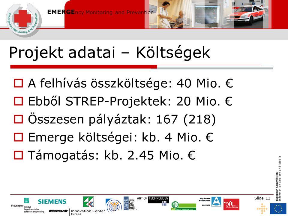 EMERGE ncy Monitoring and Prevention Slide 13 Projekt adatai – Költségek  A felhívás összköltsége: 40 Mio. €  Ebből STREP-Projektek: 20 Mio. €  Öss