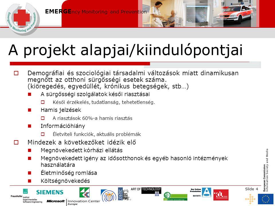 EMERGE ncy Monitoring and Prevention Slide 4 A projekt alapjai/kiindulópontjai  Demográfiai és szociológiai társadalmi változások miatt dinamikusan megnőtt az otthoni sürgősségi esetek száma.