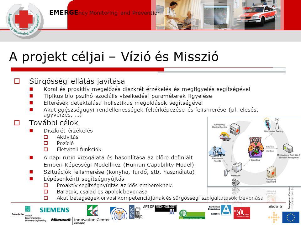 EMERGE ncy Monitoring and Prevention Slide 5 A projekt céljai – Vízió és Misszió  Sürgősségi ellátás javítása Korai és proaktív megelőzés diszkrét ér