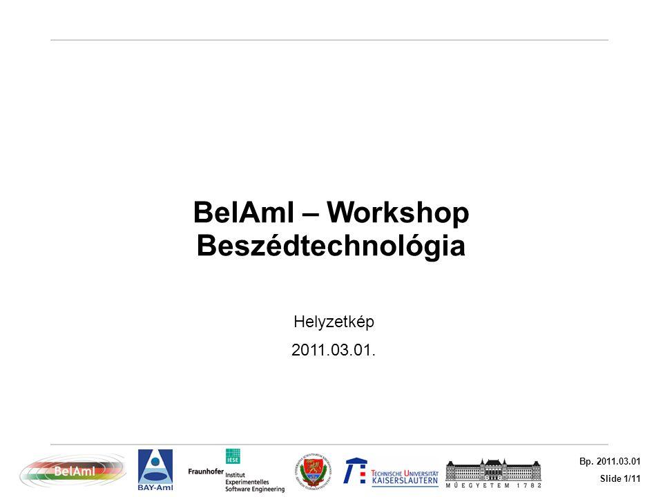 Slide 1/11 Bp. 2011.03.01 BelAmI – Workshop Beszédtechnológia Helyzetkép 2011.03.01.