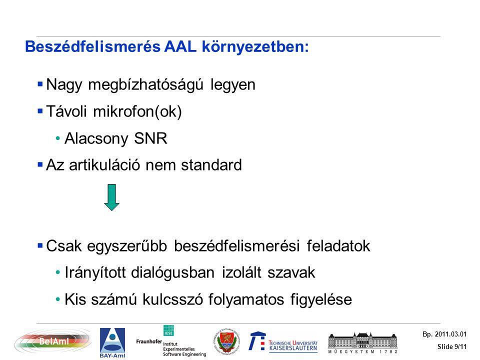 Slide 9/11 Bp. 2011.03.01 Beszédfelismerés AAL környezetben:  Nagy megbízhatóságú legyen  Távoli mikrofon(ok) Alacsony SNR  Az artikuláció nem stan