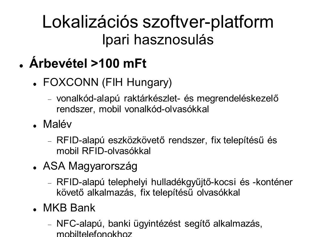 Lokalizációs szoftver-platform Ipari hasznosulás Árbevétel >100 mFt FOXCONN (FIH Hungary)  vonalkód-alapú raktárkészlet- és megrendeléskezelő rendszer, mobil vonalkód-olvasókkal Malév  RFID-alapú eszközkövető rendszer, fix telepítésű és mobil RFID-olvasókkal ASA Magyarország  RFID-alapú telephelyi hulladékgyűjtő-kocsi és -konténer követő alkalmazás, fix telepítésű olvasókkal MKB Bank  NFC-alapú, banki ügyintézést segítő alkalmazás, mobiltelefonokhoz