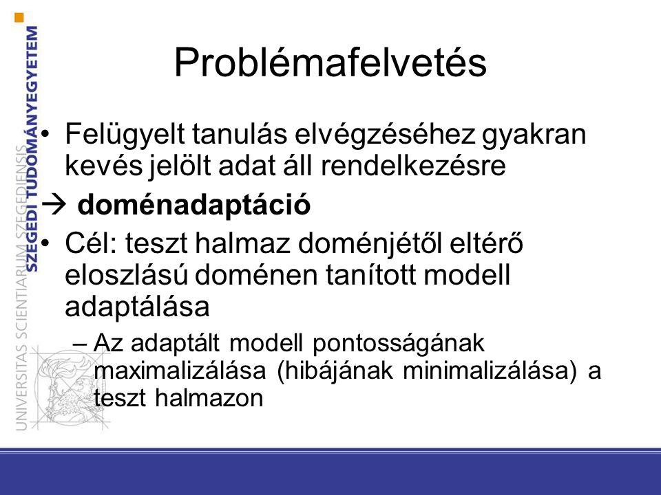 Problémafelvetés Felügyelt tanulás elvégzéséhez gyakran kevés jelölt adat áll rendelkezésre  doménadaptáció Cél: teszt halmaz doménjétől eltérő eloszlású doménen tanított modell adaptálása –Az adaptált modell pontosságának maximalizálása (hibájának minimalizálása) a teszt halmazon