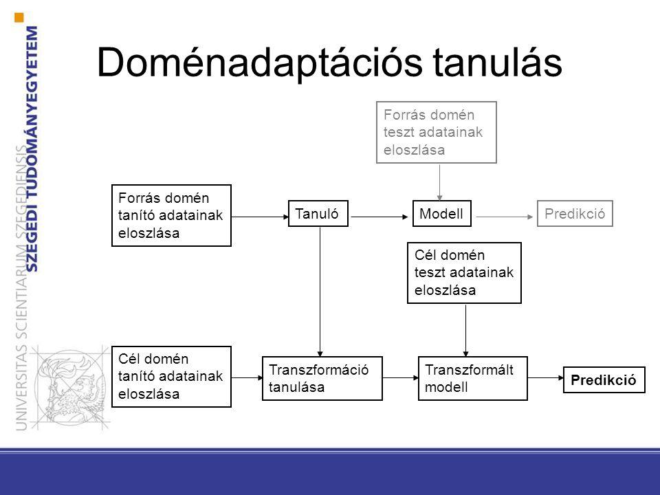 Doménadaptációs tanulás TanulóModell Forrás domén teszt adatainak eloszlása Cél domén tanító adatainak eloszlása Cél domén teszt adatainak eloszlása Transzformáció tanulása Transzformált modell Predikció Forrás domén tanító adatainak eloszlása Predikció