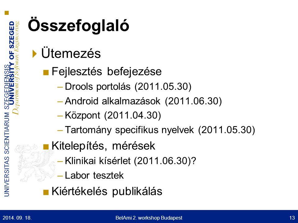 UNIVERSITY OF SZEGED D epartment of Software Engineering UNIVERSITAS SCIENTIARUM SZEGEDIENSIS Összefoglaló  Ütemezés ■Fejlesztés befejezése –Drools portolás (2011.05.30) –Android alkalmazások (2011.06.30) –Központ (2011.04.30) –Tartomány specifikus nyelvek (2011.05.30) ■Kitelepítés, mérések –Klinikai kísérlet (2011.06.30).