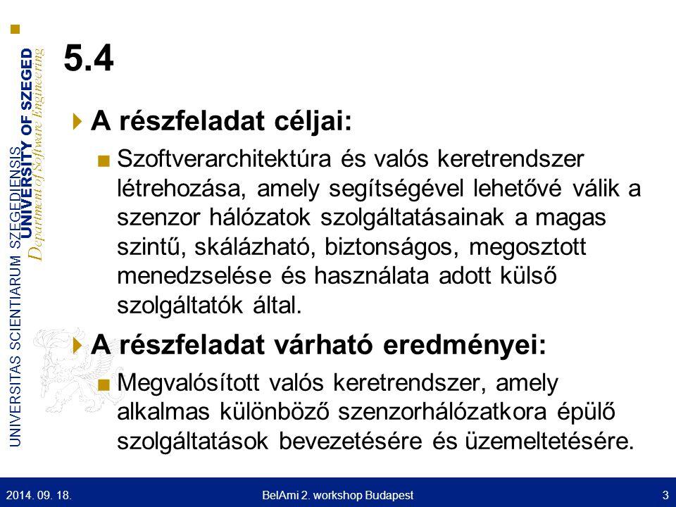 UNIVERSITY OF SZEGED D epartment of Software Engineering UNIVERSITAS SCIENTIARUM SZEGEDIENSIS 5.4  A részfeladat céljai: ■Szoftverarchitektúra és val