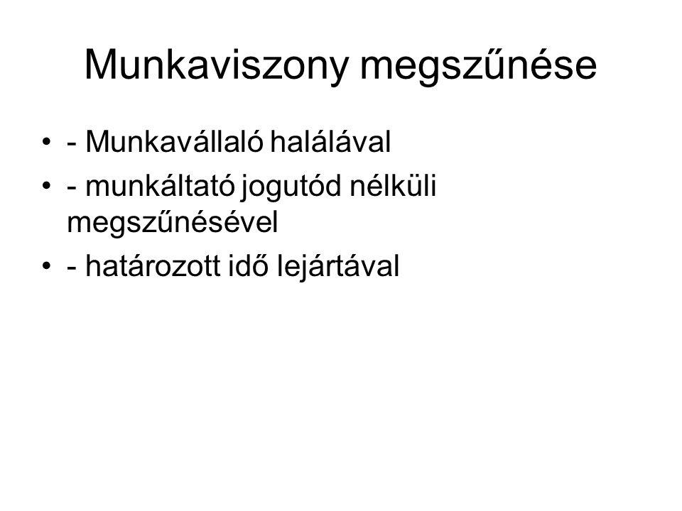 Munkaviszony megszűnése - Munkavállaló halálával - munkáltató jogutód nélküli megszűnésével - határozott idő lejártával