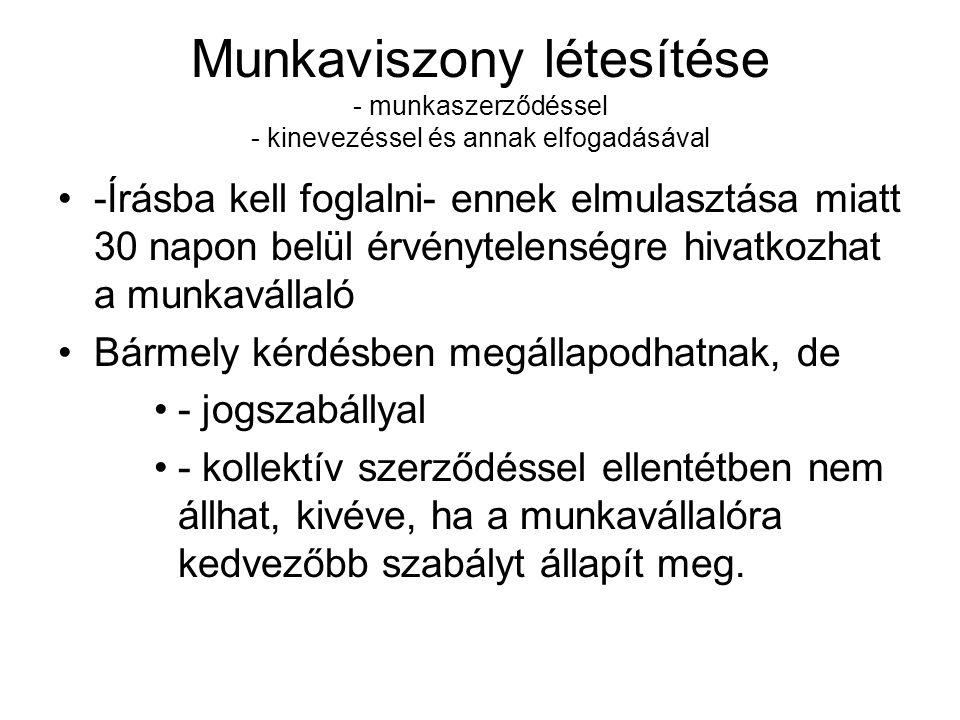 Munkaviszony tartalma Munkavállalói kötelezettségek 103.