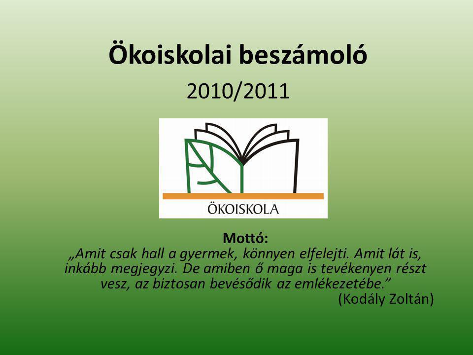 """Ökoiskolai beszámoló 2010/2011 Mottó: """"Amit csak hall a gyermek, könnyen elfelejti."""