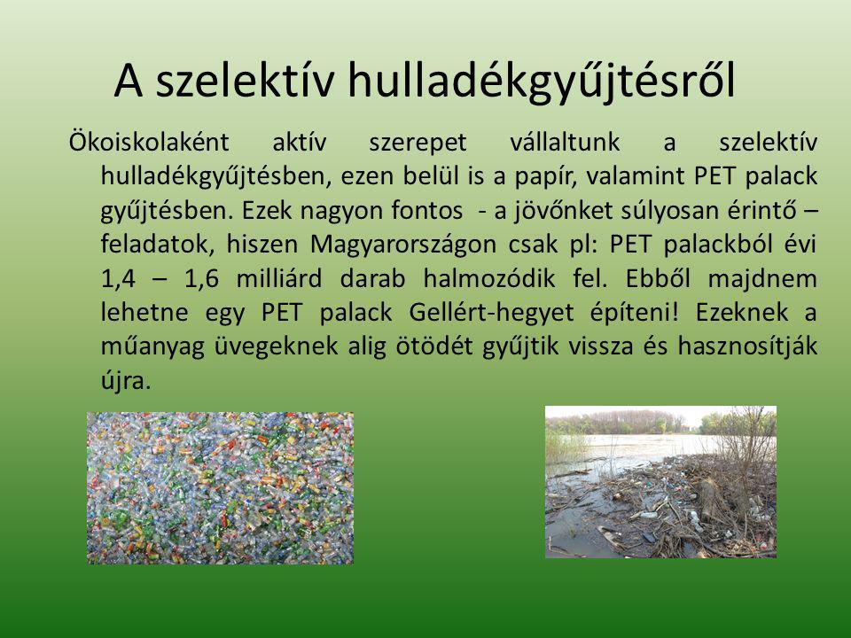 A szelektív hulladékgyűjtésről Ökoiskolaként aktív szerepet vállaltunk a szelektív hulladékgyűjtésben, ezen belül is a papír, valamint PET palack gyűjtésben.