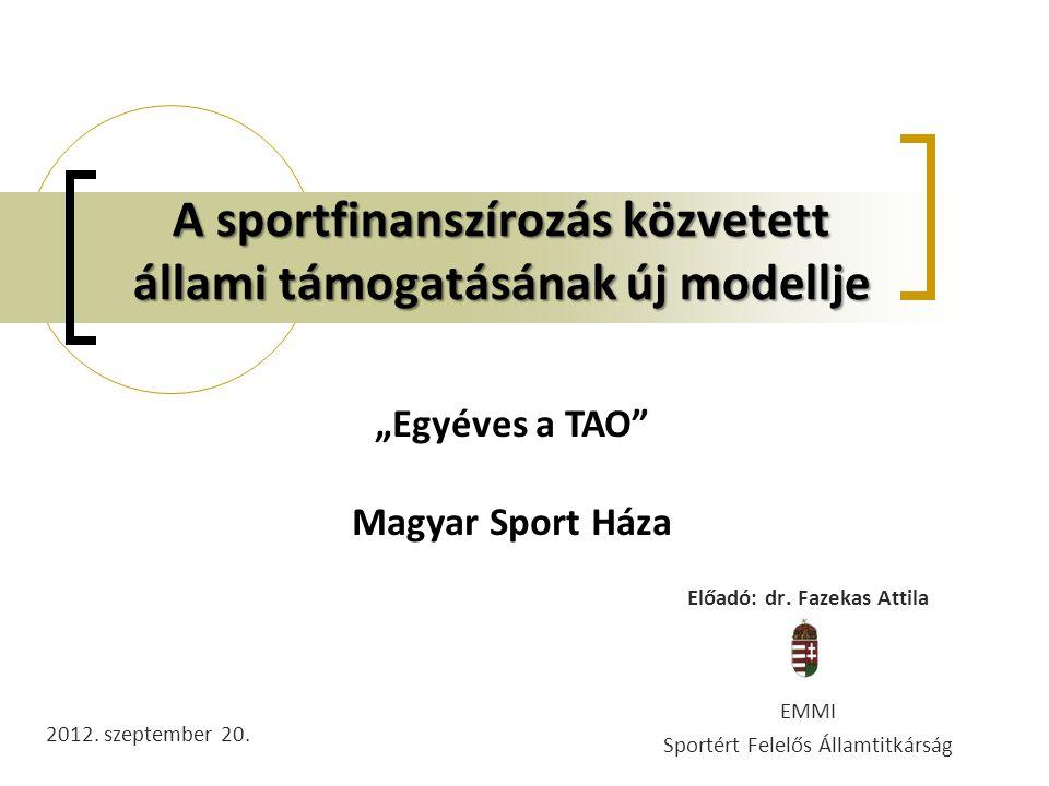 """A sportfinanszírozás közvetett állami támogatásának új modellje Előadó: dr. Fazekas Attila EMMI Sportért Felelős Államtitkárság 2012. szeptember 20. """""""