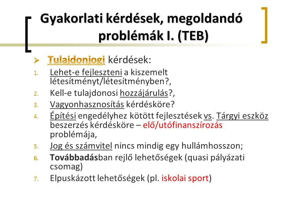 Gyakorlati kérdések, megoldandó problémák I. (TEB)