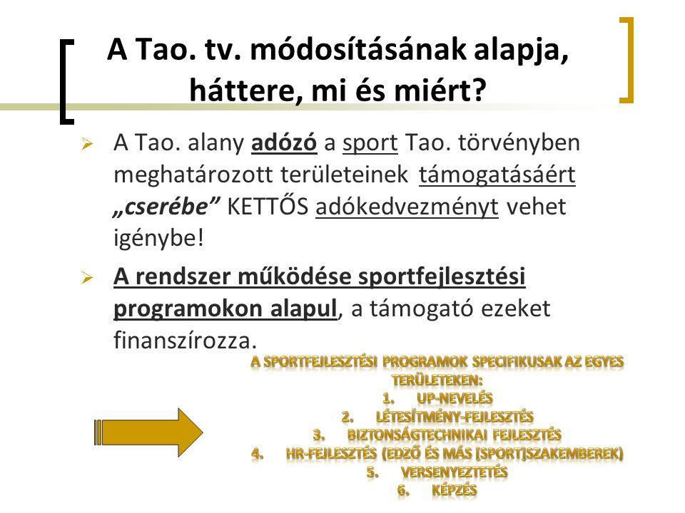 """A Tao. tv. módosításának alapja, háttere, mi és miért?  A Tao. alany adózó a sport Tao. törvényben meghatározott területeinek támogatásáért """"cserébe"""""""