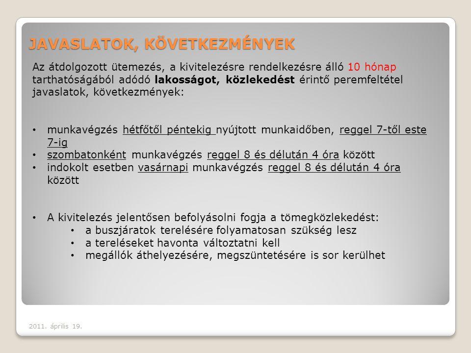 JAVASLATOK, KÖVETKEZMÉNYEK 2011.április 19.