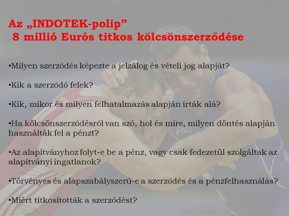 """Az """"INDOTEK-polip 8 millió Eurós titkos kölcsönszerződése Milyen szerződés képezte a jelzálog és vételi jog alapját."""