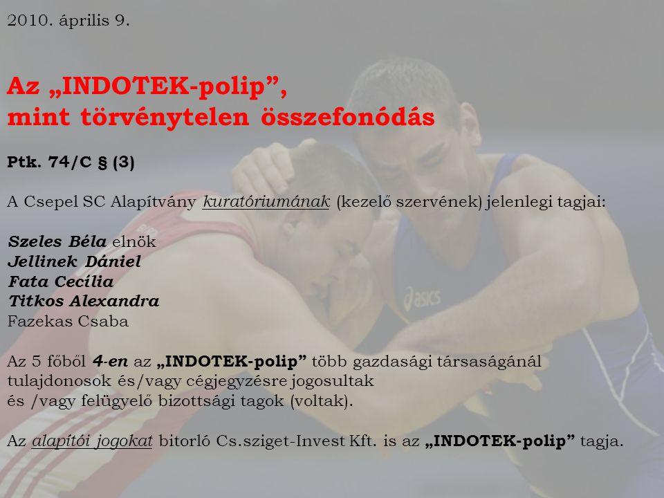 """2010.április 9. Az """"INDOTEK-polip , mint törvénytelen összefonódás Ptk."""