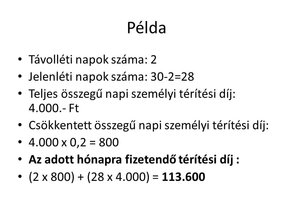 Példa Távolléti napok száma: 2 Jelenléti napok száma: 30-2=28 Teljes összegű napi személyi térítési díj: 4.000.- Ft Csökkentett összegű napi személyi
