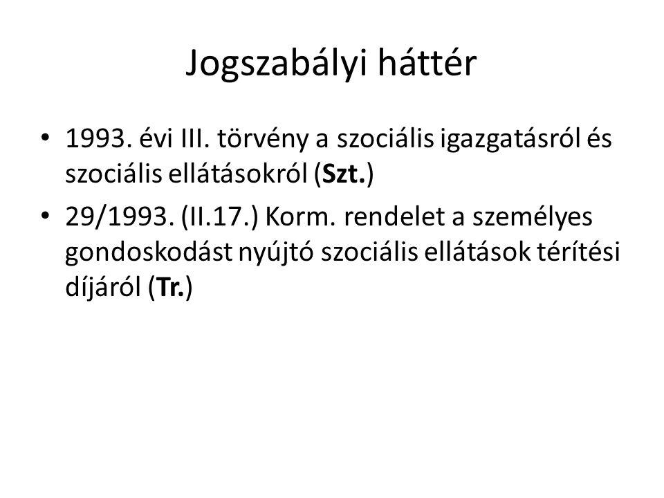 Jogszabályi háttér 1993. évi III. törvény a szociális igazgatásról és szociális ellátásokról (Szt.) 29/1993. (II.17.) Korm. rendelet a személyes gondo