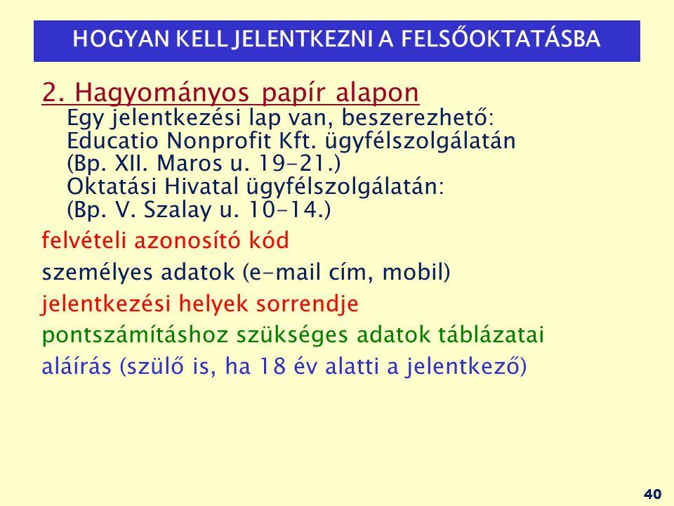 41 ELEKTRONIKUS ÜGYINTÉZÉS: www.felvi.hu Minden, a felvételi eljárással kapcsolatos ügyet el lehet intézni az Educatio Nonprofit Kft.