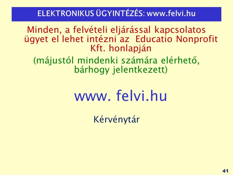 41 ELEKTRONIKUS ÜGYINTÉZÉS: www.felvi.hu Minden, a felvételi eljárással kapcsolatos ügyet el lehet intézni az Educatio Nonprofit Kft. honlapján (május