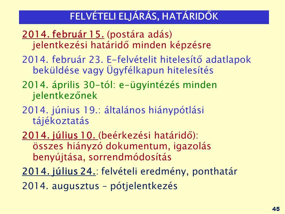 45 FELVÉTELI ELJÁRÁS, HATÁRIDŐK 2014. február 15. (postára adás) jelentkezési határidő minden képzésre 2014. február 23. E-felvételit hitelesítő adatl