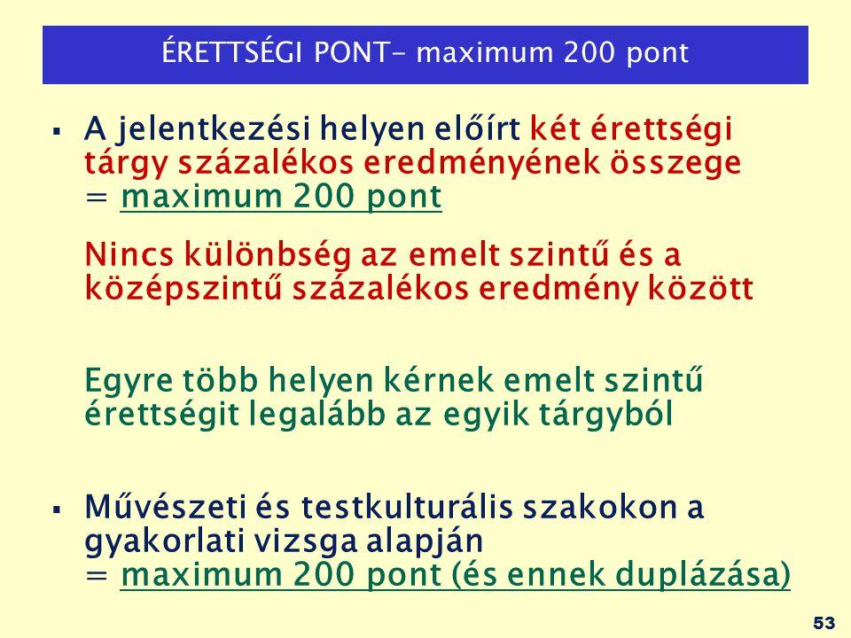 54 TÖBBLETPONTOK: maximum 100 pont KÖTELEZŐ többletpontok (minden területen)  Emelt szintű érettségiért: tárgyanként 50 pont -Csak azért az emelt szintű vizsgáért jár többletpont, amelyből a pályázó érettségi pontjait számítják.