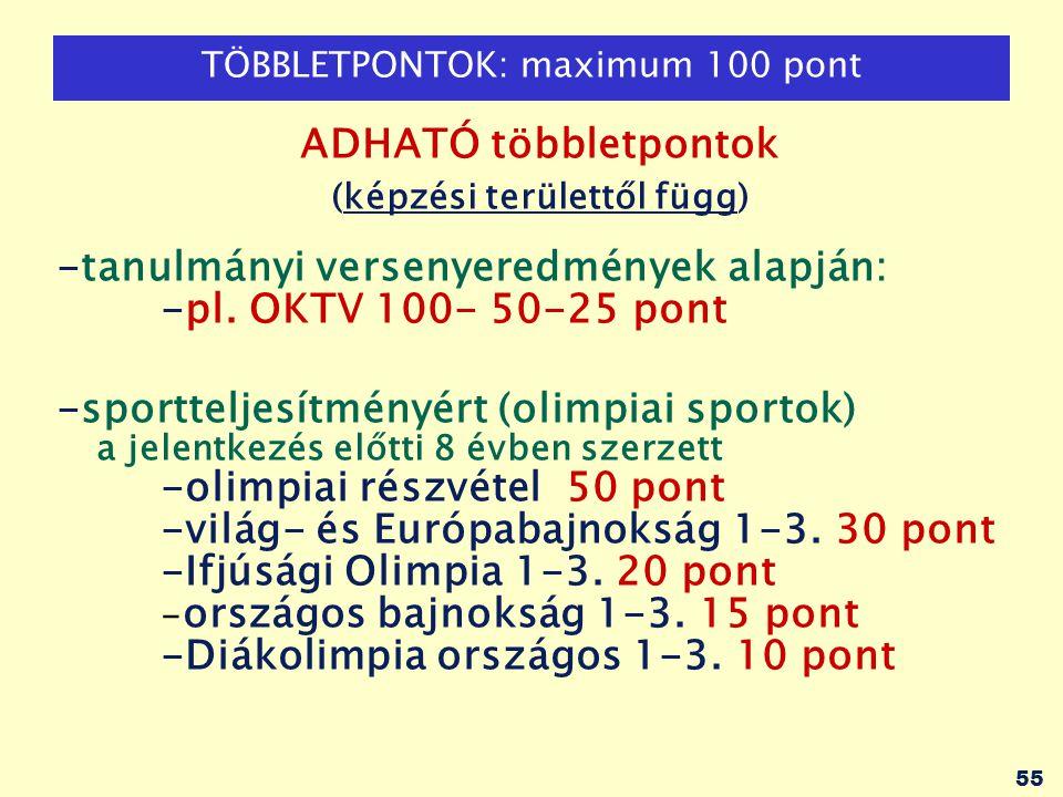 55 TÖBBLETPONTOK: maximum 100 pont ADHATÓ többletpontok (képzési területtől függ) -tanulmányi versenyeredmények alapján: -pl. OKTV 100- 50-25 pont -sp