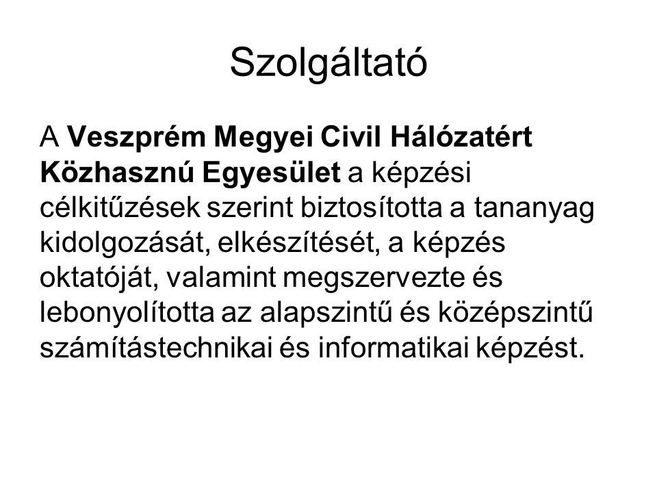 Szolgáltató A Veszprém Megyei Civil Hálózatért Közhasznú Egyesület a képzési célkitűzések szerint biztosította a tananyag kidolgozását, elkészítését,