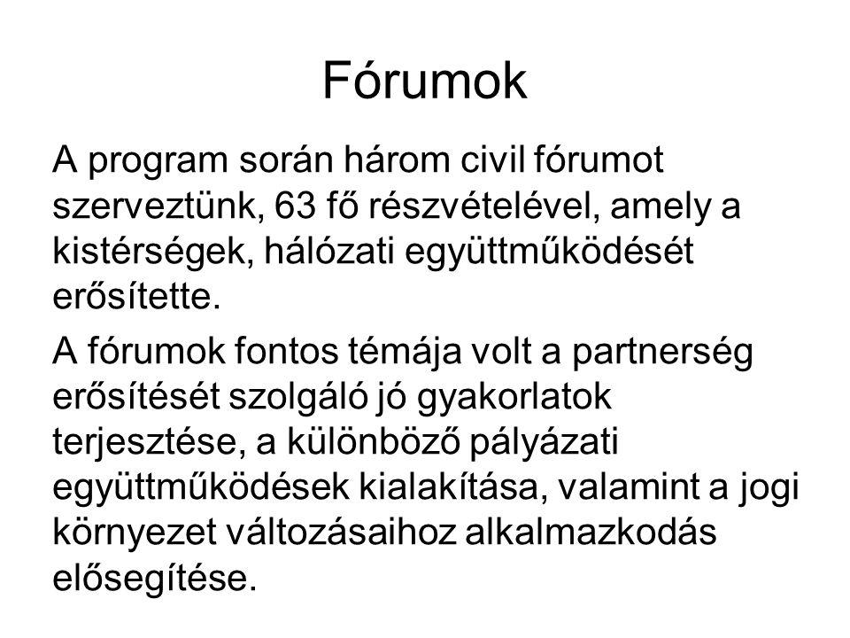 Fórumok A program során három civil fórumot szerveztünk, 63 fő részvételével, amely a kistérségek, hálózati együttműködését erősítette. A fórumok font