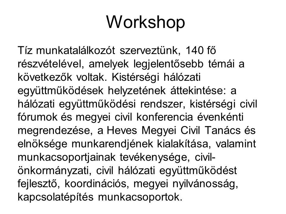 Workshop Tíz munkatalálkozót szerveztünk, 140 fő részvételével, amelyek legjelentősebb témái a következők voltak. Kistérségi hálózati együttműködések