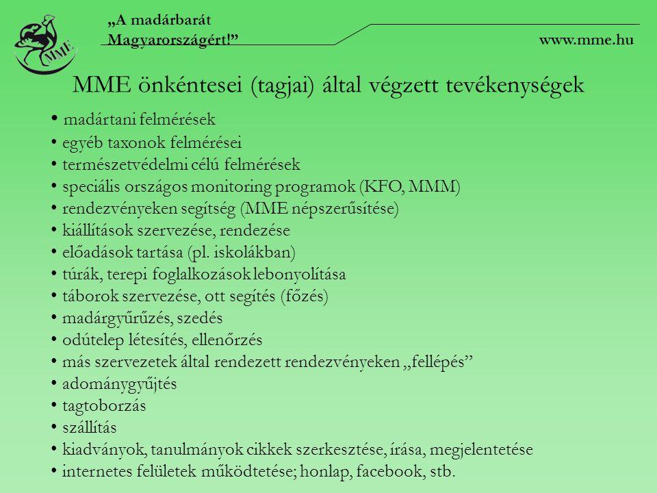 """""""A madárbarát Magyarországért! www.mme.hu MME önkéntesei (tagjai) által végzett tevékenységek madártani felmérések egyéb taxonok felmérései természetvédelmi célú felmérések speciális országos monitoring programok (KFO, MMM) rendezvényeken segítség (MME népszerűsítése) kiállítások szervezése, rendezése előadások tartása (pl."""