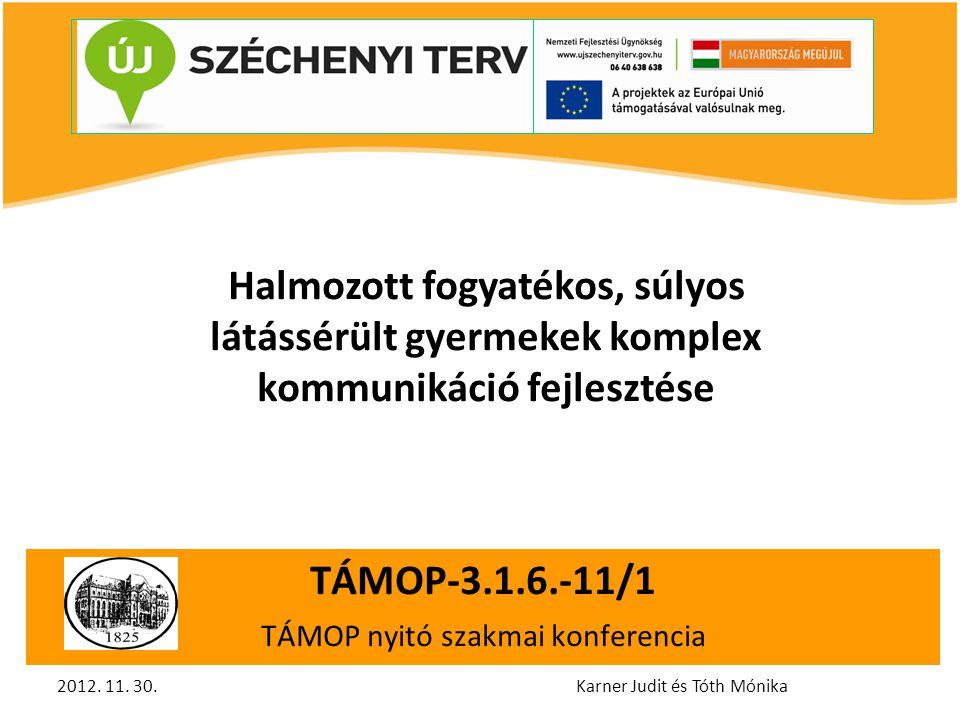 TÁMOP-3.1.6.-11/1 TÁMOP nyitó szakmai konferencia TÁMOP-3.1.6.-11/1TÁMO Halmozott fogyatékos, súlyos látássérült gyermekek komplex kommunikáció fejlesztése 2012.