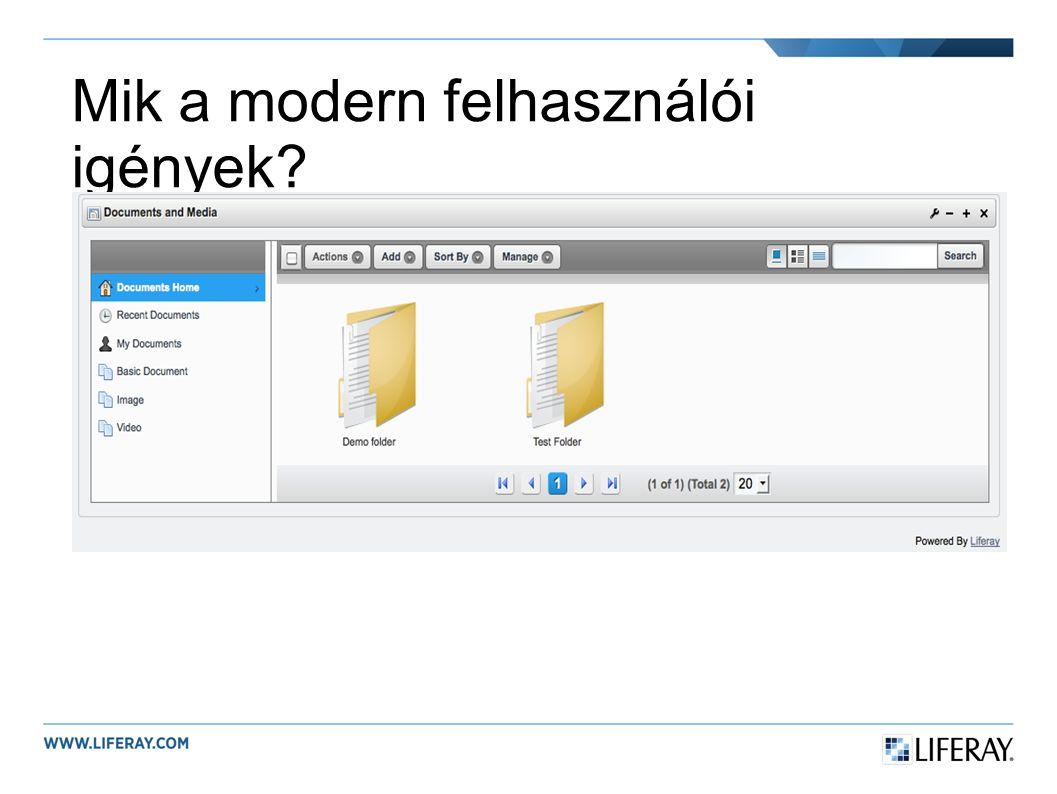 Mik a modern felhasználói igények?