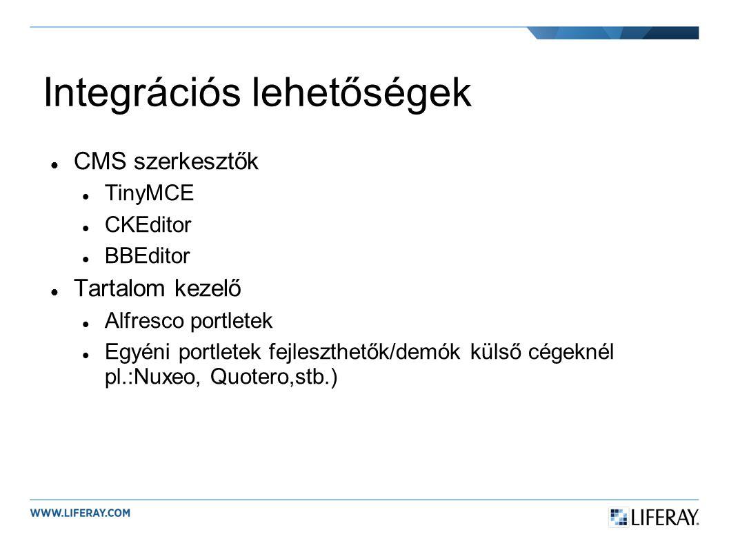 Integrációs lehetőségek CMS szerkesztők TinyMCE CKEditor BBEditor Tartalom kezelő Alfresco portletek Egyéni portletek fejleszthetők/demók külső cégeknél pl.:Nuxeo, Quotero,stb.)