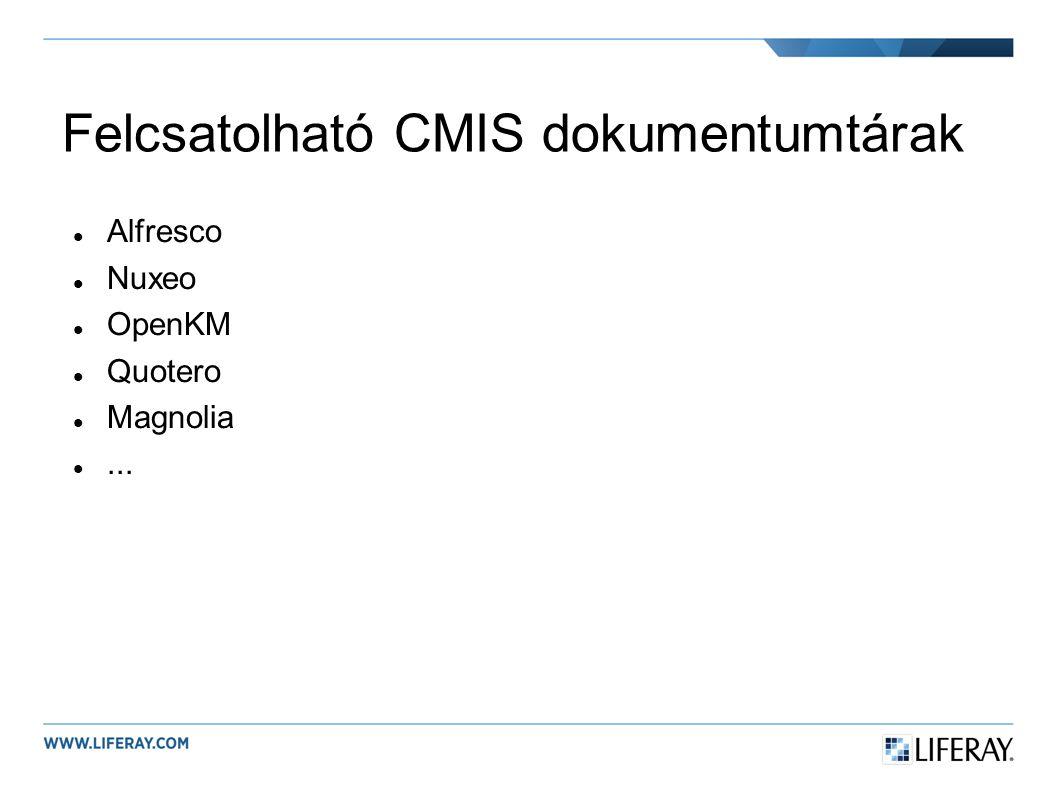 Felcsatolható CMIS dokumentumtárak Alfresco Nuxeo OpenKM Quotero Magnolia...