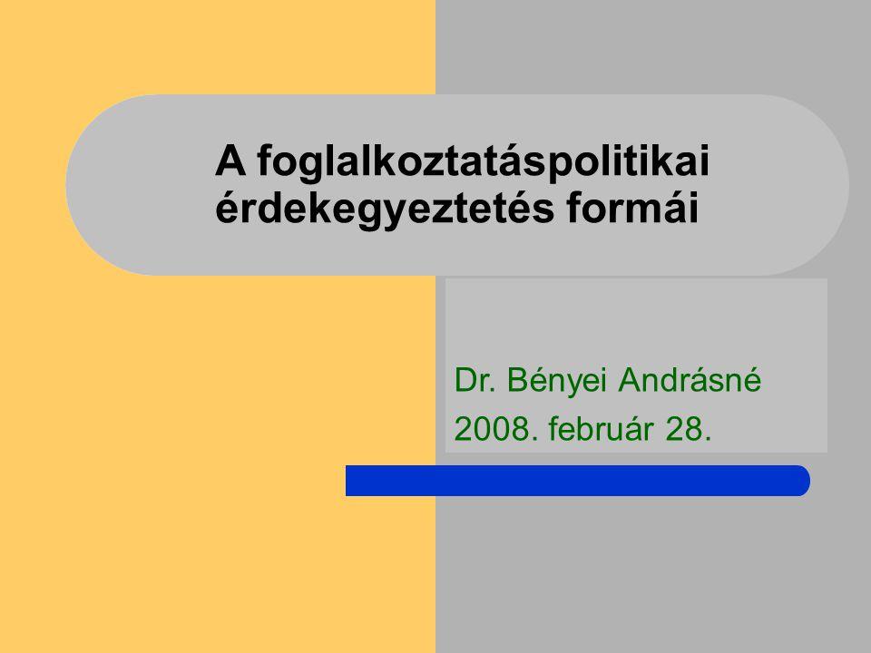 A foglalkoztatáspolitikai érdekegyeztetés formái Dr. Bényei Andrásné 2008. február 28.