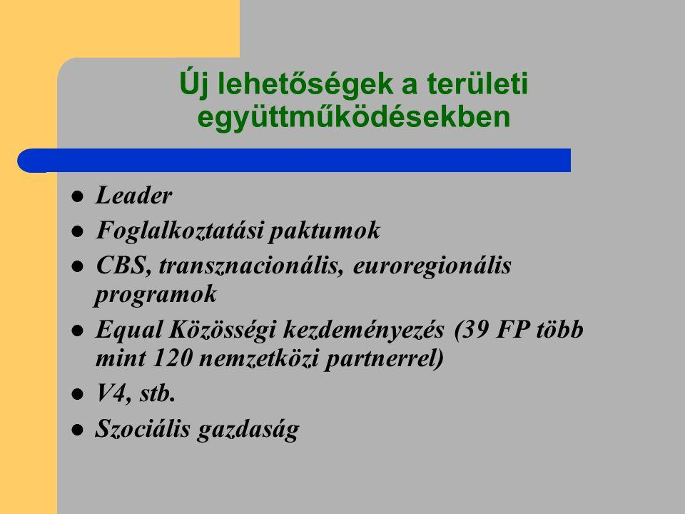 Új lehetőségek a területi együttműködésekben Leader Foglalkoztatási paktumok CBS, transznacionális, euroregionális programok Equal Közösségi kezdeményezés (39 FP több mint 120 nemzetközi partnerrel) V4, stb.