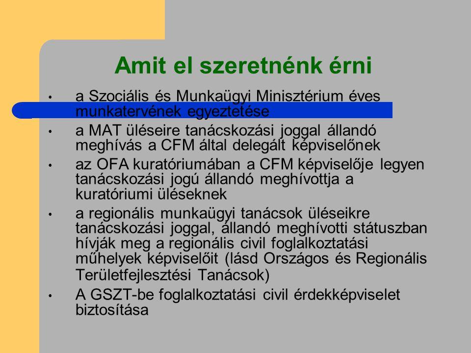 Amit el szeretnénk érni a Szociális és Munkaügyi Minisztérium éves munkatervének egyeztetése a MAT üléseire tanácskozási joggal állandó meghívás a CFM által delegált képviselőnek az OFA kuratóriumában a CFM képviselője legyen tanácskozási jogú állandó meghívottja a kuratóriumi üléseknek a regionális munkaügyi tanácsok üléseikre tanácskozási joggal, állandó meghívotti státuszban hívják meg a regionális civil foglalkoztatási műhelyek képviselőit (lásd Országos és Regionális Területfejlesztési Tanácsok) A GSZT-be foglalkoztatási civil érdekképviselet biztosítása