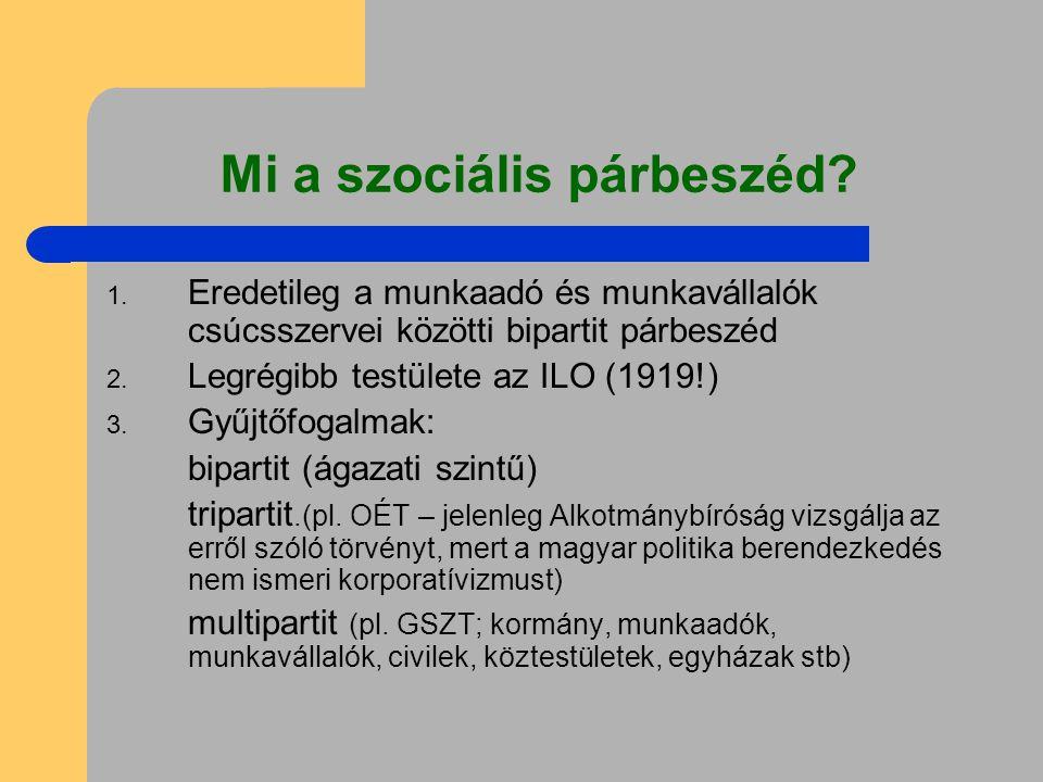 Mi a szociális párbeszéd? 1. Eredetileg a munkaadó és munkavállalók csúcsszervei közötti bipartit párbeszéd 2. Legrégibb testülete az ILO (1919!) 3. G