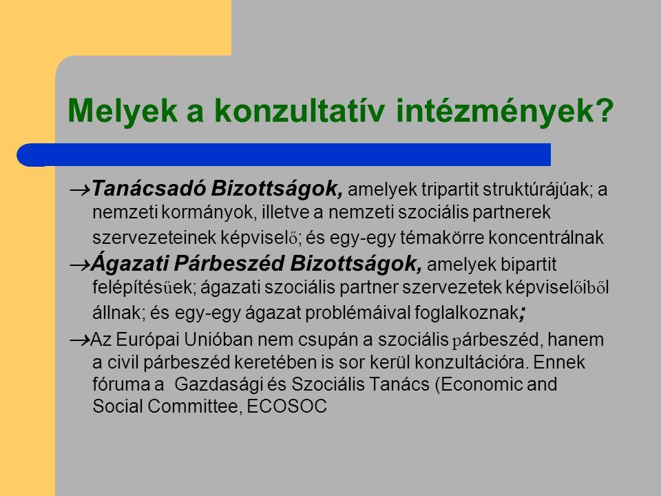 Melyek a konzultatív intézmények?  Tanácsadó Bizottságok, amelyek tripartit struktúrájúak; a nemzeti kormányok, illetve a nemzeti szociális partnerek