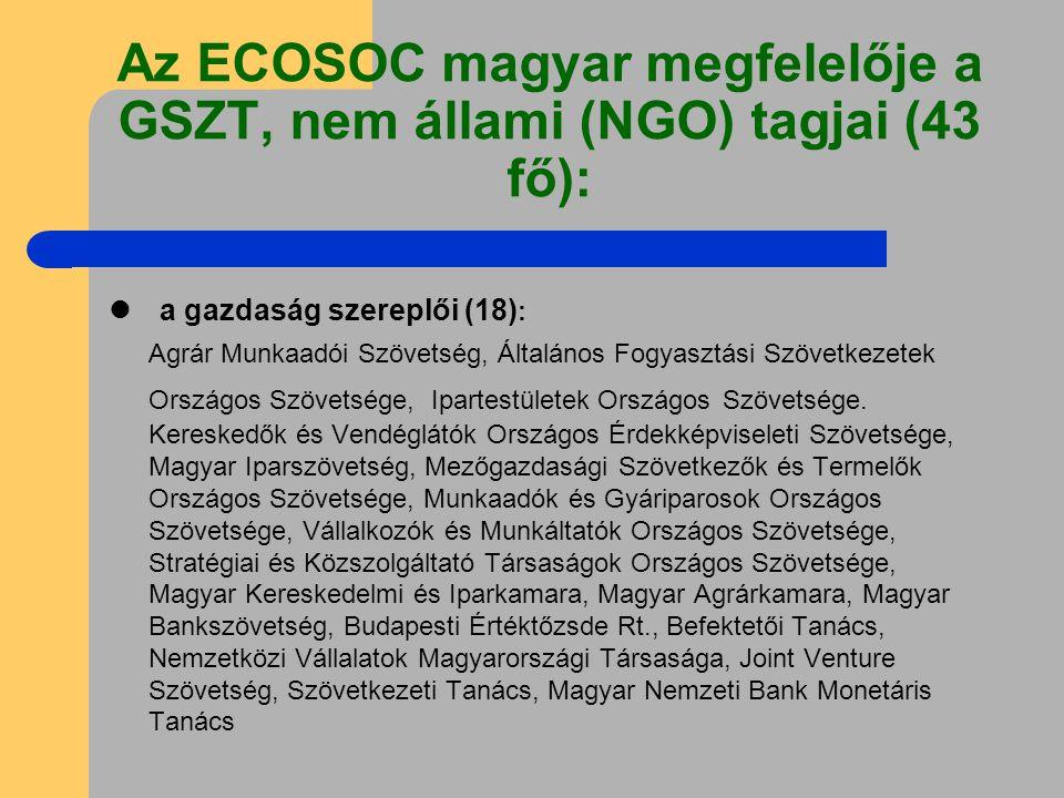 Az ECOSOC magyar megfelelője a GSZT, nem állami (NGO) tagjai (43 fő): a gazdaság szereplői (18) : Agrár Munkaadói Szövetség, Általános Fogyasztási Szövetkezetek Országos Szövetsége, Ipartestületek Országos Szövetsége.
