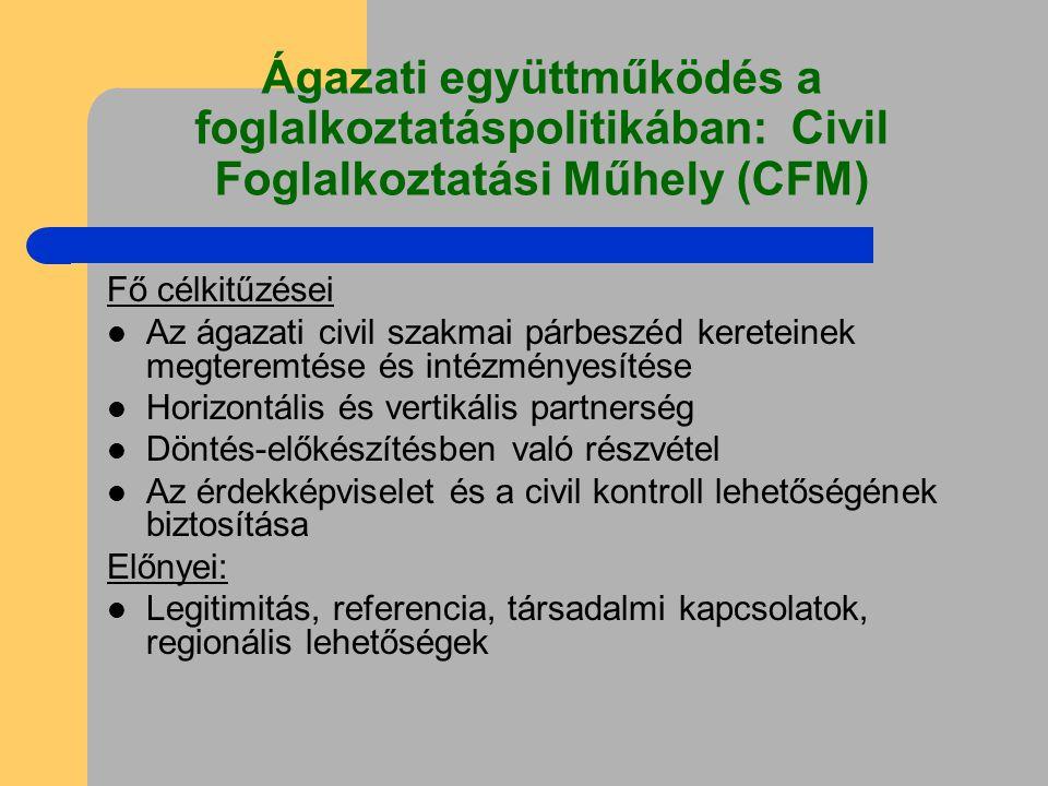 Ágazati együttműködés a foglalkoztatáspolitikában: Civil Foglalkoztatási Műhely (CFM) Fő célkitűzései Az ágazati civil szakmai párbeszéd kereteinek megteremtése és intézményesítése Horizontális és vertikális partnerség Döntés-előkészítésben való részvétel Az érdekképviselet és a civil kontroll lehetőségének biztosítása Előnyei: Legitimitás, referencia, társadalmi kapcsolatok, regionális lehetőségek
