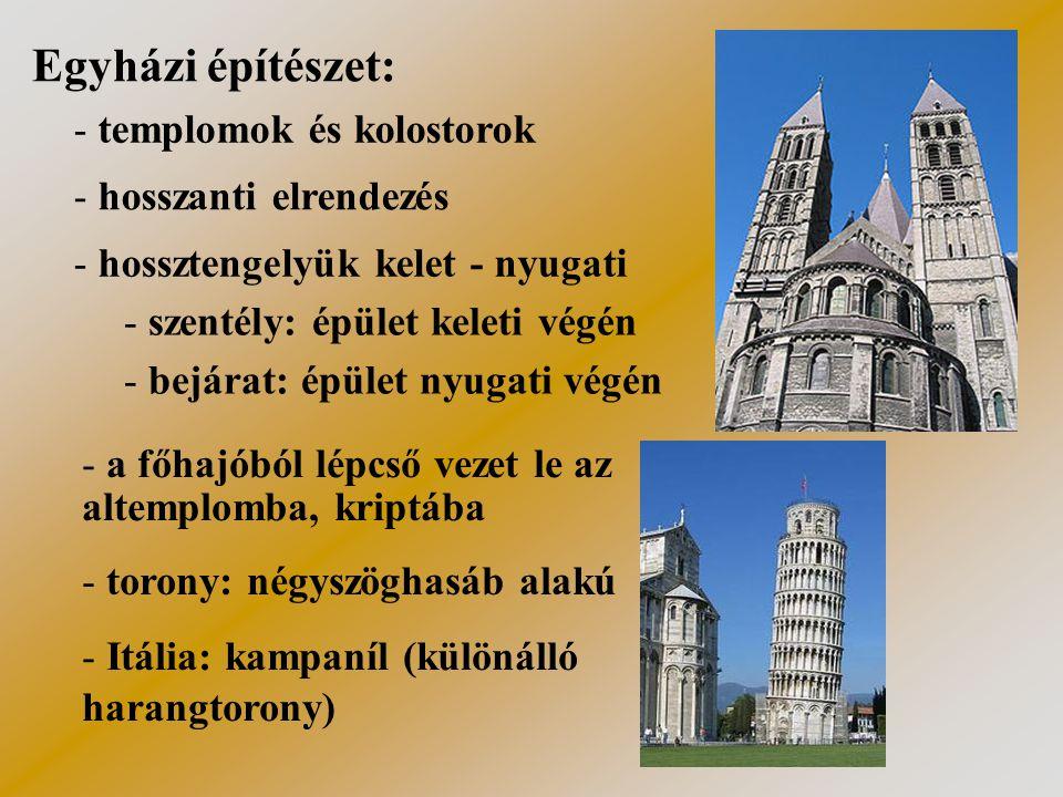 A román stílusú templom részei előcsarnokfőhajó apszismellékhajók négyezet kereszthajó