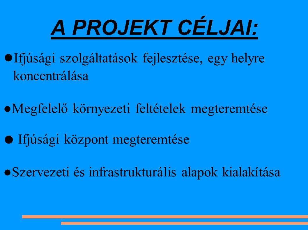 A PROJEKT CÉLJAI: ● Ifjúsági szolgáltatások fejlesztése, egy helyre koncentrálása ●Megfelelő környezeti feltételek megteremtése ● Ifjúsági központ megteremtése ●Szervezeti és infrastrukturális alapok kialakítása