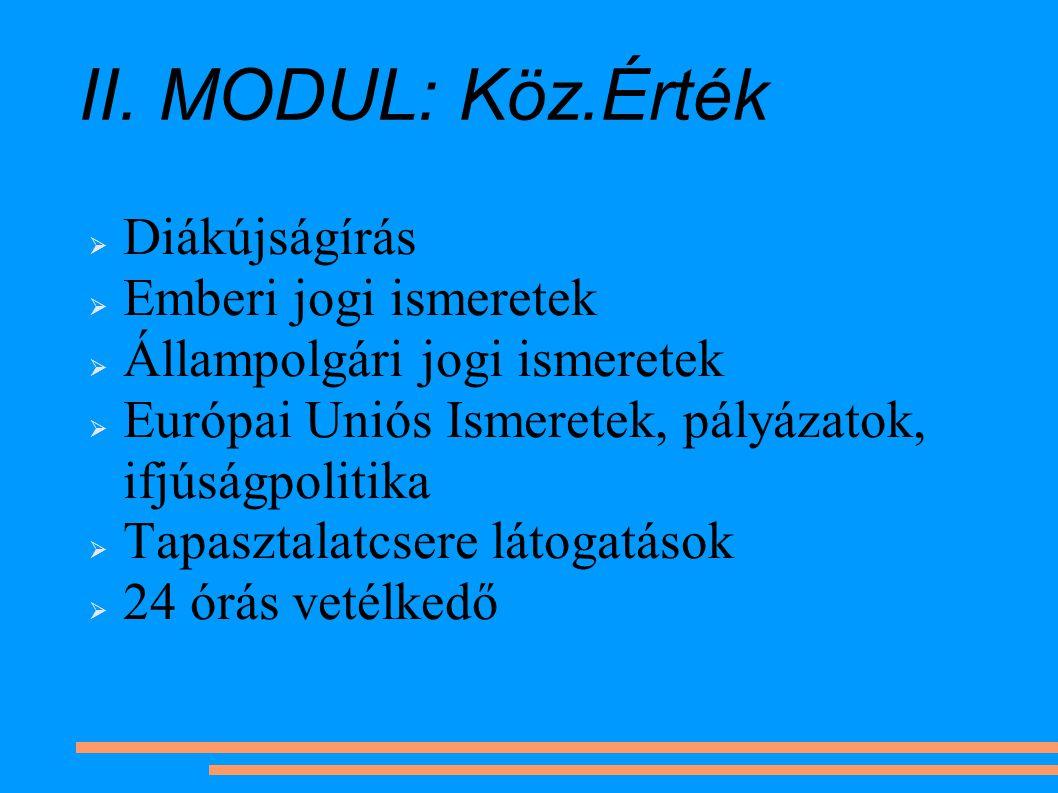 II. MODUL: Köz.Érték  Diákújságírás  Emberi jogi ismeretek  Állampolgári jogi ismeretek  Európai Uniós Ismeretek, pályázatok, ifjúságpolitika  Ta