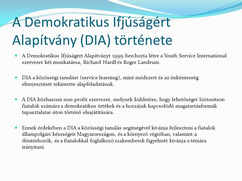 A Demokratikus Ifjúságért Alapítvány (DIA) története A Demokratikus Ifjúságért Alapítványt 1999-ben hozta létre a Youth Service International szervezet két munkatársa, Richard Harill és Roger Landrum.