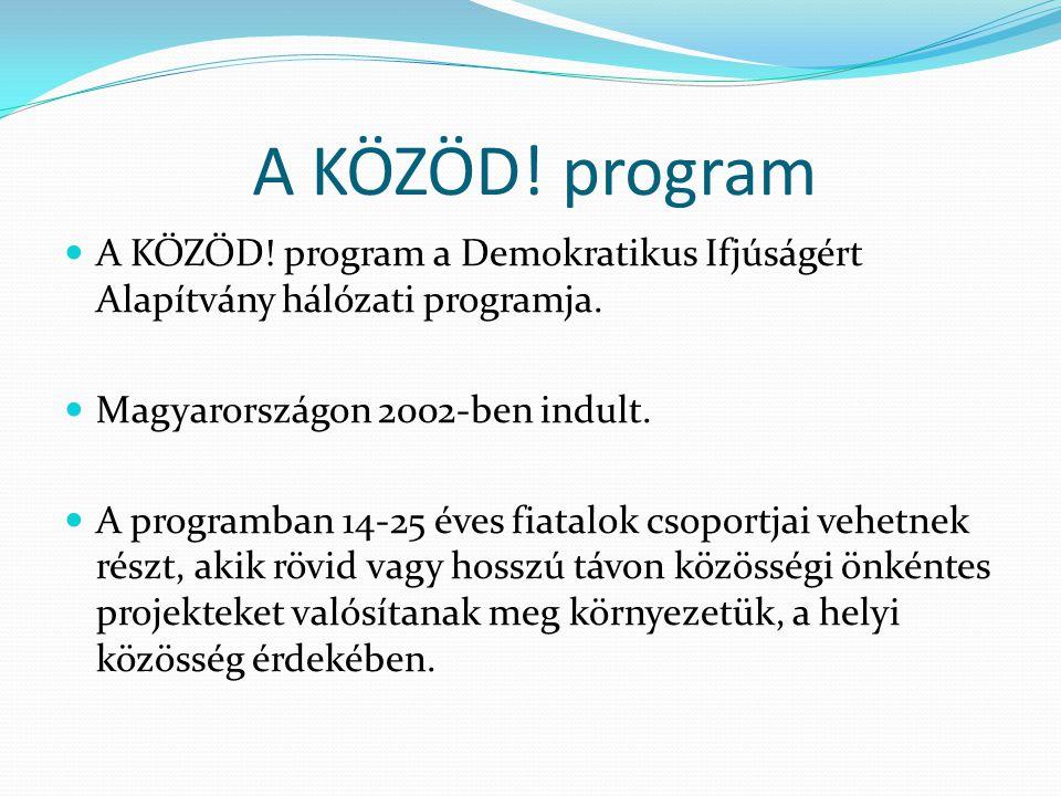 A KÖZÖD! program A KÖZÖD! program a Demokratikus Ifjúságért Alapítvány hálózati programja. Magyarországon 2002-ben indult. A programban 14-25 éves fia