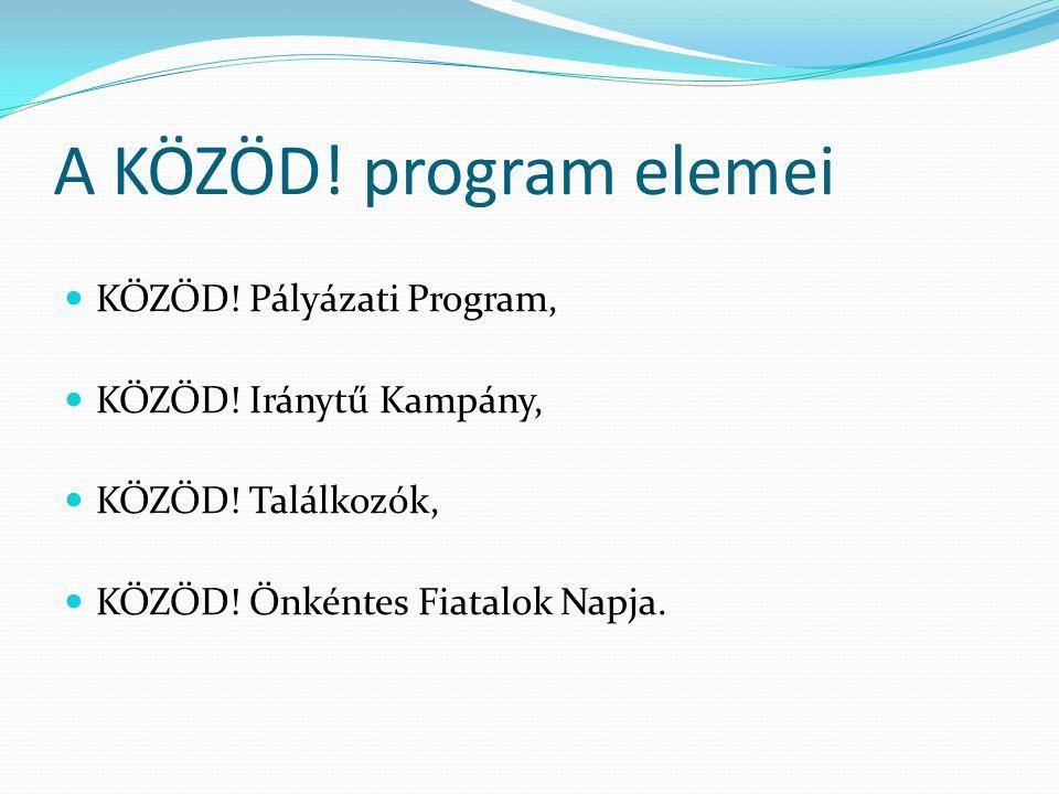 A KÖZÖD! program elemei KÖZÖD! Pályázati Program, KÖZÖD! Iránytű Kampány, KÖZÖD! Találkozók, KÖZÖD! Önkéntes Fiatalok Napja.
