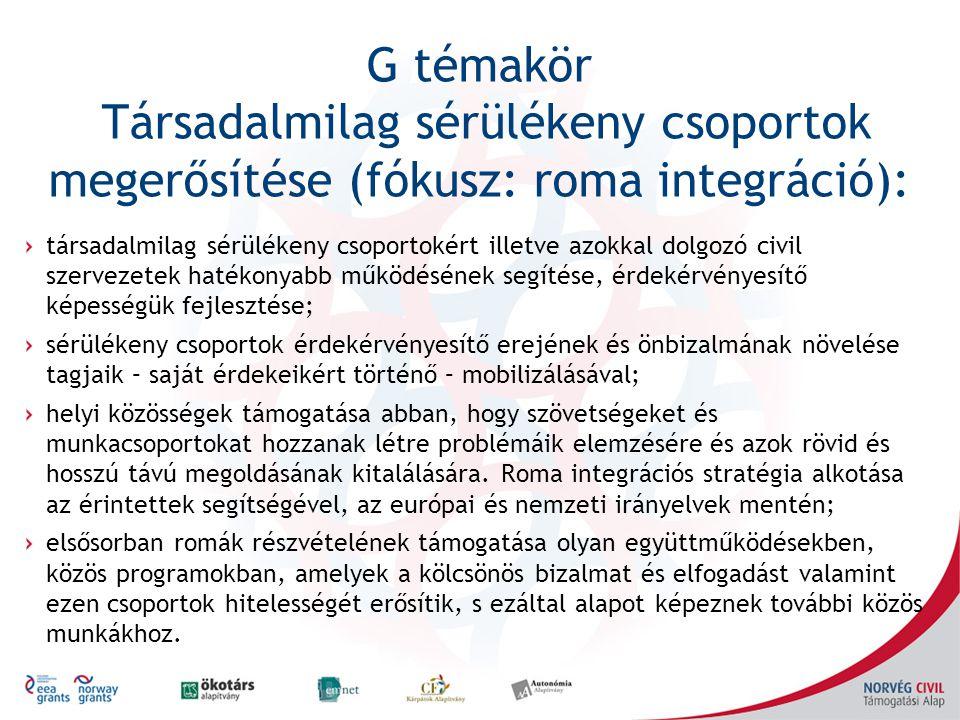 G témakör Társadalmilag sérülékeny csoportok megerősítése (fókusz: roma integráció): társadalmilag sérülékeny csoportokért illetve azokkal dolgozó civil szervezetek hatékonyabb működésének segítése, érdekérvényesítő képességük fejlesztése; sérülékeny csoportok érdekérvényesítő erejének és önbizalmának növelése tagjaik – saját érdekeikért történő – mobilizálásával; helyi közösségek támogatása abban, hogy szövetségeket és munkacsoportokat hozzanak létre problémáik elemzésére és azok rövid és hosszú távú megoldásának kitalálására.